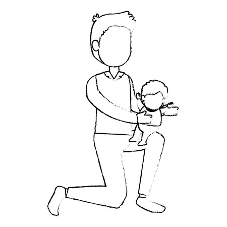 cute father lifting baby avatars characters vector illustration design