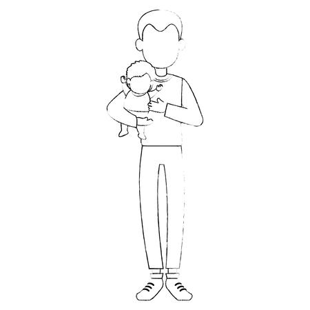 Lindo padre levantando personajes avatares bebé diseño ilustración vectorial