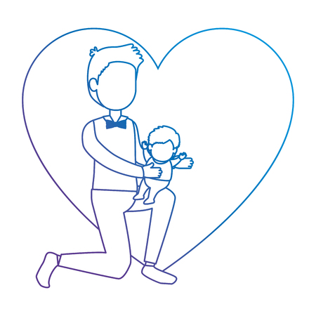 cute father lifting baby in heart vector illustration design Illustration