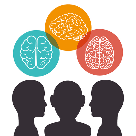 human profile creative brain vector illustration design