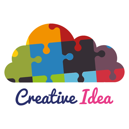 cloud with puzzle pieces creative ideas vector illustration design Stok Fotoğraf - 101511007