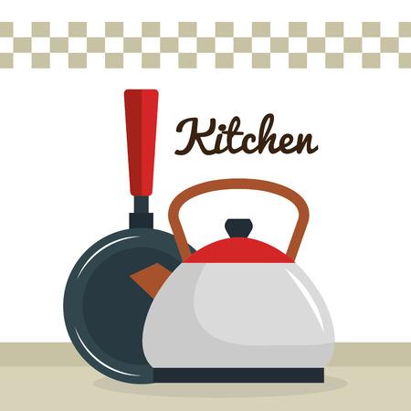 kitchen teapot with pan utensil icon vector illustration design Stock Illustratie