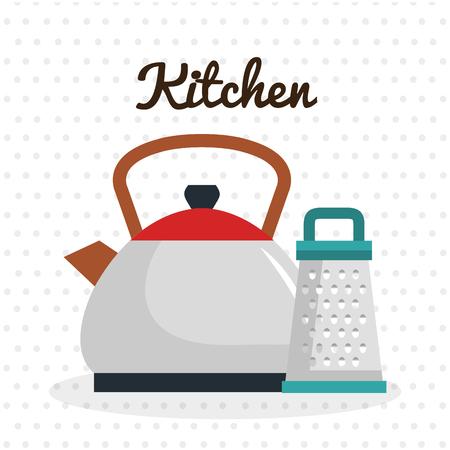 kitchen teapot with grater utensil icon vector illustration design