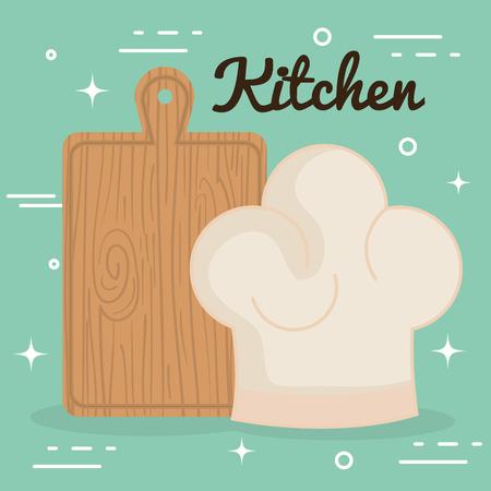 kitchen cut board and hat chef utensil icon vector illustration design 일러스트