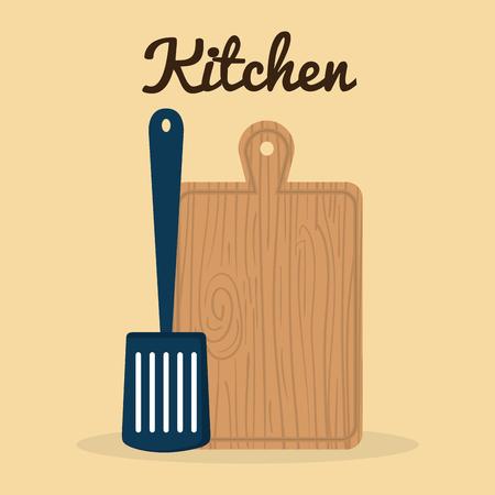 kitchen cut board with spatule utensil icon vector illustration design 일러스트