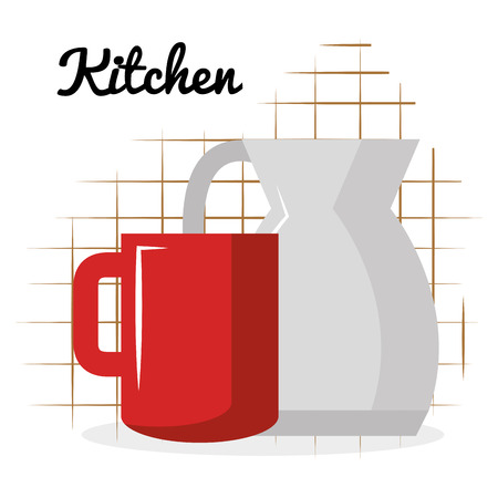 kitchen teapot with coffee cup utensil icon vector illustration design 일러스트