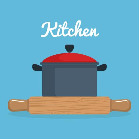 kitchen wooden roll and pot utensil icon vector illustration design Stock Illustratie
