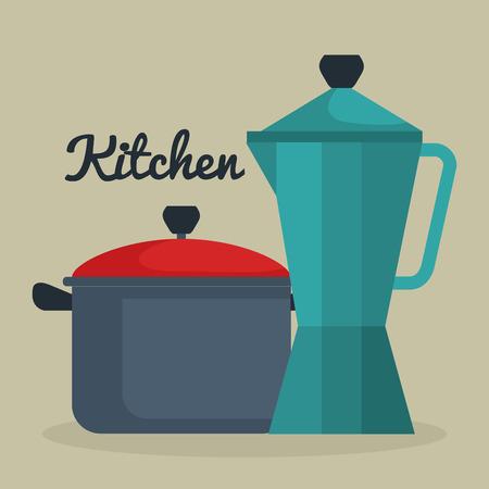 kitchen pot with kettle utensil icon vector illustration design Иллюстрация