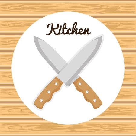 kitchen knifes crossed utensil icon vector illustration design