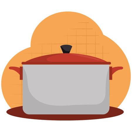 kitchen pot utensil icon vector illustration design