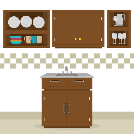kitchen room scene icons vector illustration design Stock Illustratie