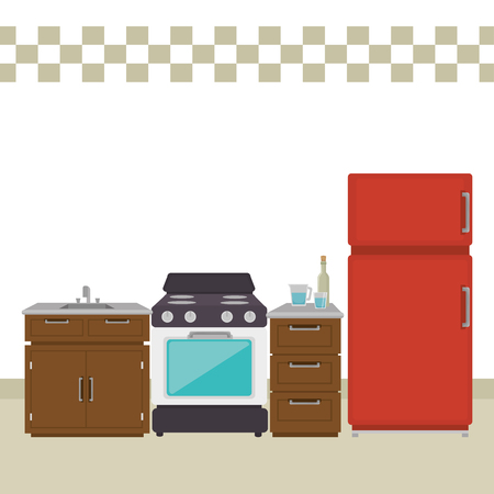 kitchen room scene icons vector illustration design Illusztráció