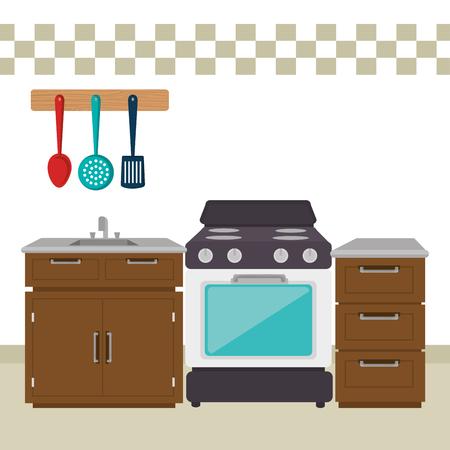 kitchen room scene icons vector illustration design 일러스트