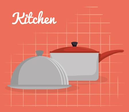 kitchen pot and tray server utensil icon vector illustration design