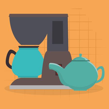 kitchen teapot and coffee maker utensil icon vector illustration design