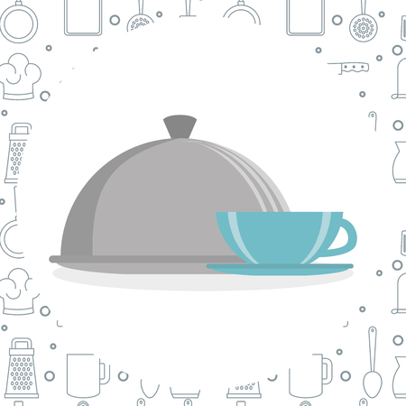kitchen tray server with coffee cup utensil icon vector illustration design