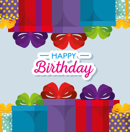 happy birthday celebration card with gifts presents vector illustration design