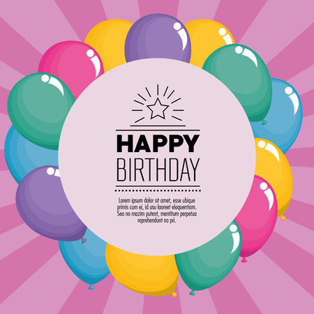 happy birthday celebration card with balloons air vector illustration design