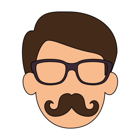 cute father with mustache avatar character vector illustration design