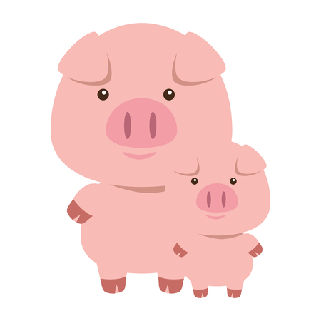 cute little pig father and son adorables characters vector illustration design Ilustração