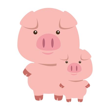 simpatico maialino padre e figlio adorabili personaggi illustrazione vettoriale design