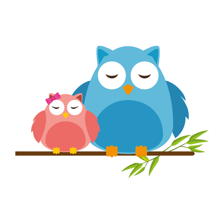 cute father and daughter owls in branch characters vector illustration design