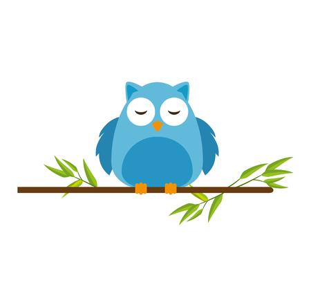cute owl bird adorable in branch character vector illustration design