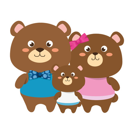 cute family bears teddy adorables characters vector illustration design Çizim