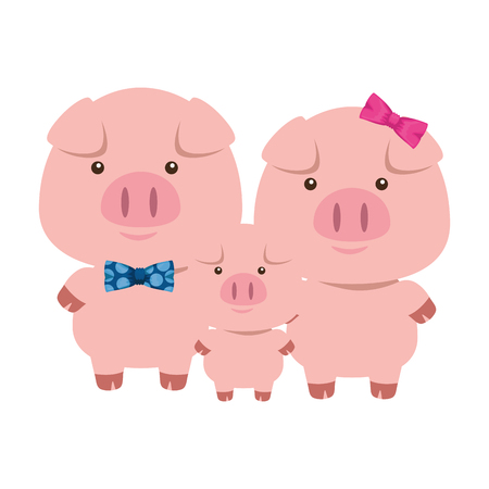 cute little family pigs adorables characters vector illustration design Vettoriali
