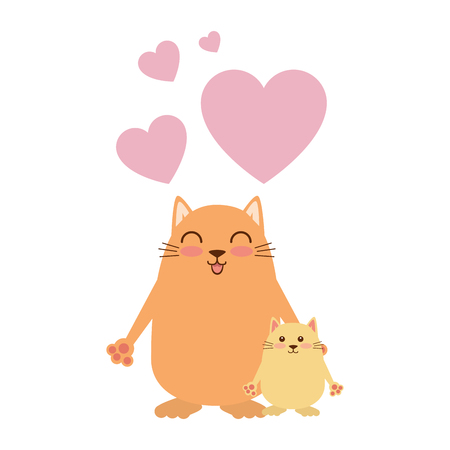 cute mother and daughter cats with hearts characters vector illustration design
