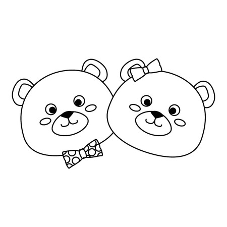 cute couple bears teddy adorables characters vector illustration design