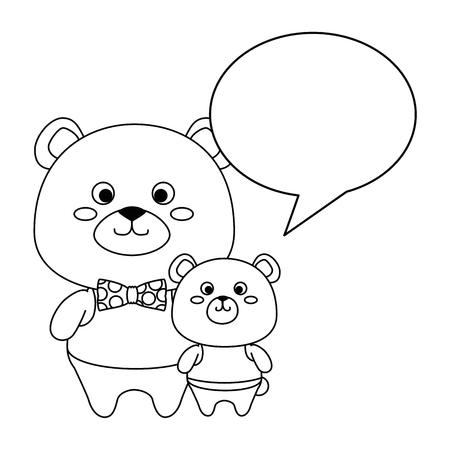 cute father and son bears teddy with speech bubble vector illustration design