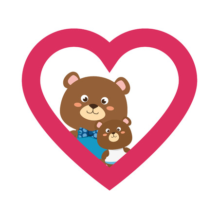 cute father and son bears teddy in heart characters vector illustration design
