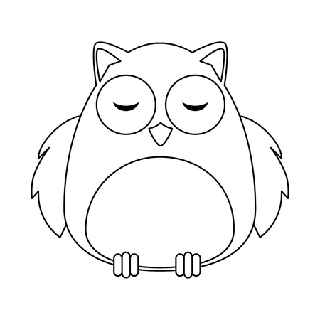 cute owl bird adorable character vector illustration design Illustration