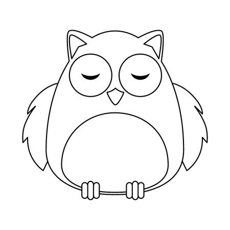 cute owl bird adorable character vector illustration design Иллюстрация