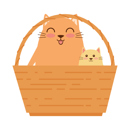 cute mother and daughter cats in basket characters vector illustration design