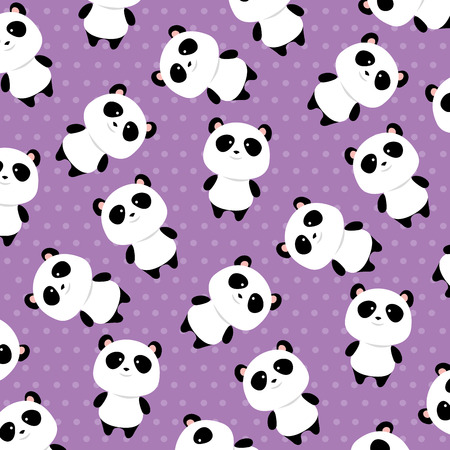cute panda bears characters pattern background vector illustration design
