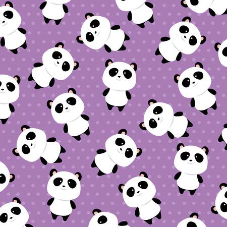 mignon, panda, ours, caractères, modèle fond, vecteur, illustration, conception