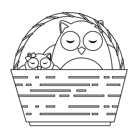 cute father and daughter owls in basket characters vector illustration design