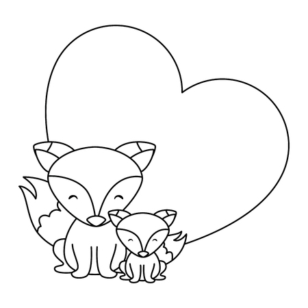 cute father and son foxes in heart characters vector illustration design