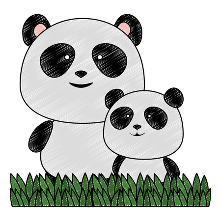 cute father and son panda bears characters vector illustration design