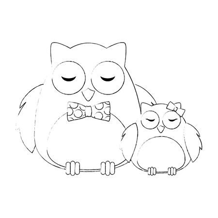 cute father and daughter owls birds characters vector illustration design