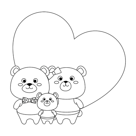 cute family bears teddy in heart characters vector illustration design