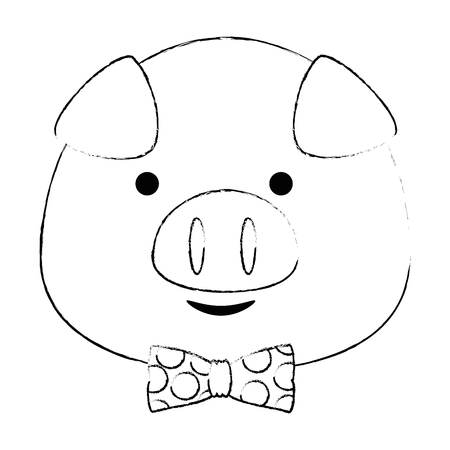cute little pig head adorable character vector illustration design  イラスト・ベクター素材
