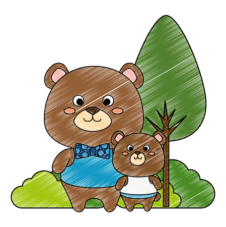 cute father and son bears teddy adorables characters vector illustration design Ilustração