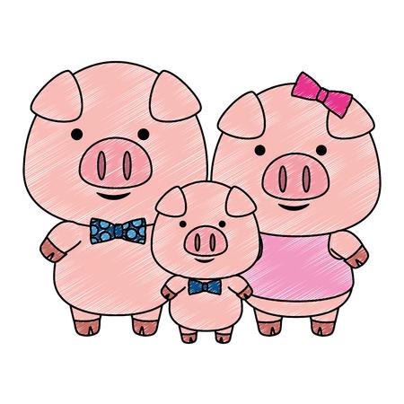 Carino piccola famiglia suini adorabili personaggi illustrazione vettoriale design