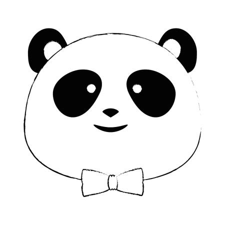 cute panda bear head character vector illustration design
