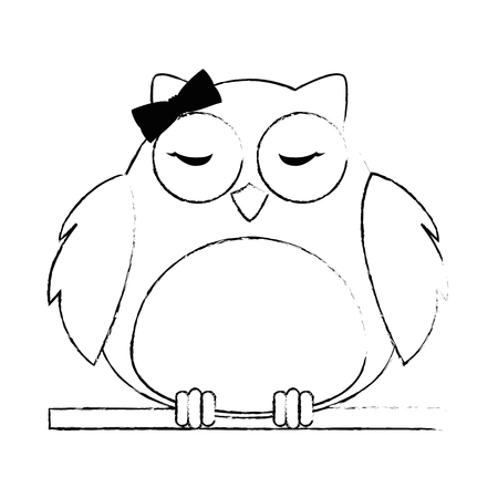cute female owl bird adorable character vector illustration design Illustration