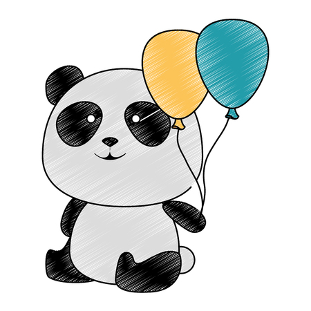 cute panda bear with balloons air character vector illustration design Çizim