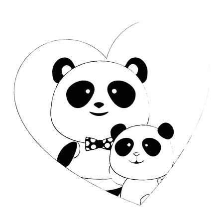 cute father and son panda bears in heart characters vector illustration design